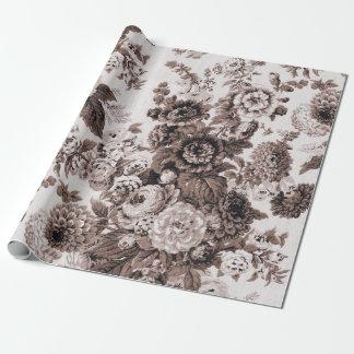 Sepia Brown Black White Vintage Floral Toile No.3