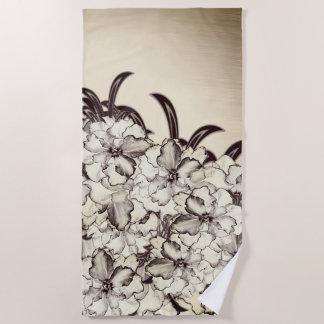 Sepia Brown Orchid Garden Sketch Beach Towel