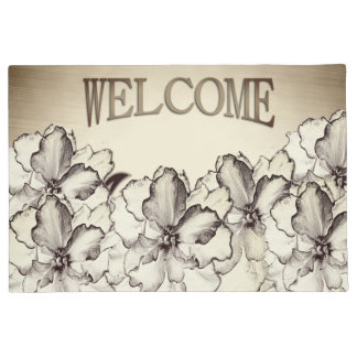 Sepia Brown Orchid Garden Sketch Doormat