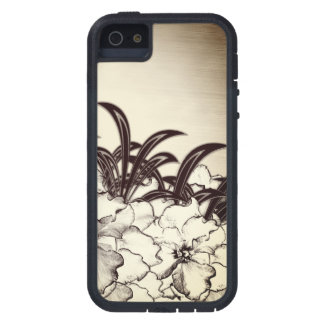 Sepia Brown Orchid Garden Sketch iPhone 5 Case