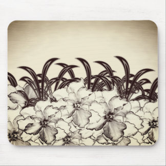 Sepia Brown Orchid Garden Sketch Mouse Pad