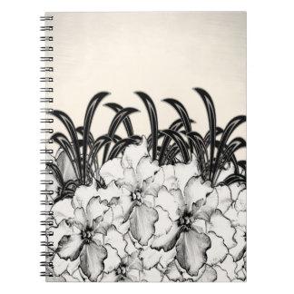 Sepia Brown Orchid Garden Sketch Notebook