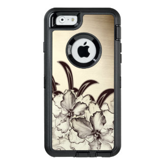 Sepia Brown Orchid Garden Sketch OtterBox Defender iPhone Case