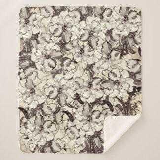 Sepia Brown Orchid Garden Sketch Sherpa Blanket