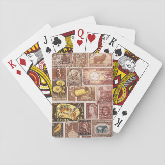 Sepia Brown Playing Cards, Vintage Postage Stamps Poker Deck