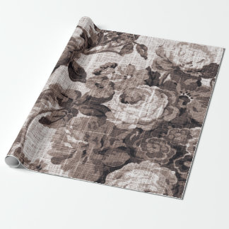 Sepia Brown Tone Floral Toile Fabric No.4