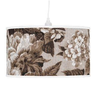 Sepia Brown Tone Vintage Botanical Floral Toile Pendant Lamp