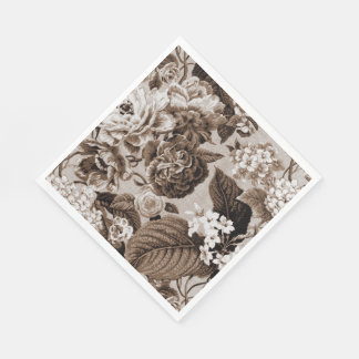 Sepia Brown Vintage Floral Toile Fabric No.1 Disposable Napkin