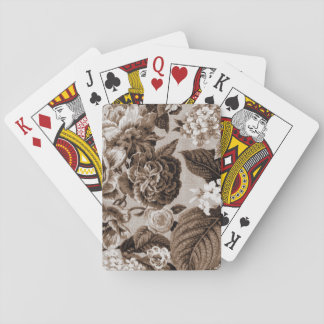 Sepia Brown Vintage Floral Toile Fabric No.1 Playing Cards