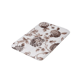 Sepia Brown Vintage Floral Toile No.2 Bath Mat