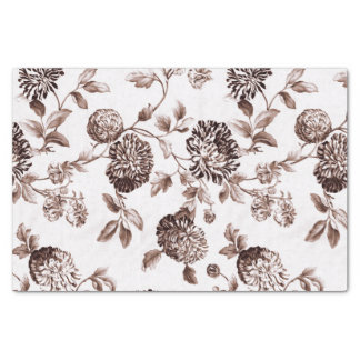 Sepia Brown Vintage Floral Toile No.2 Tissue Paper