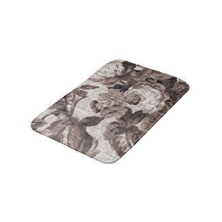 Sepia Brown Vintage Floral Toile No.4 Bath Mat