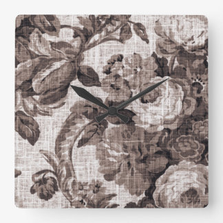 Sepia Brown Vintage Floral Toile No.5 Square Wall Clock