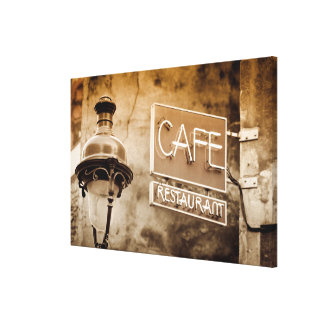 Sepia cafe sign, Paris, France Canvas Print