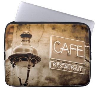 Sepia cafe sign, Paris, France Laptop Sleeve