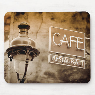 Sepia cafe sign, Paris, France Mouse Pad