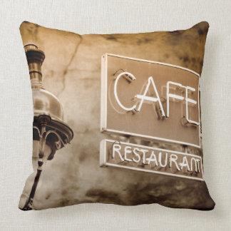 Sepia cafe sign, Paris, France Throw Pillow