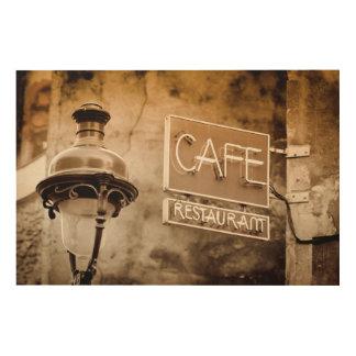 Sepia cafe sign, Paris, France Wood Prints