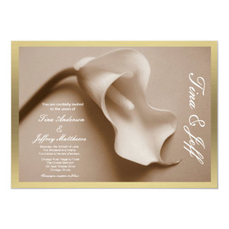 sepia calla lily wedding invitation gilt edge