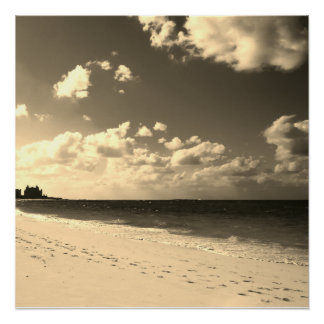 Sepia Castle Beach Perfect Poster