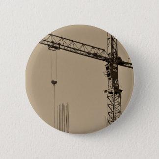 Sepia Construction Crane 2 Inch Round Button