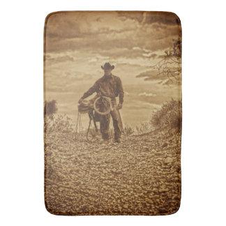 Sepia Cowboy Bath Mat Western Cowboy