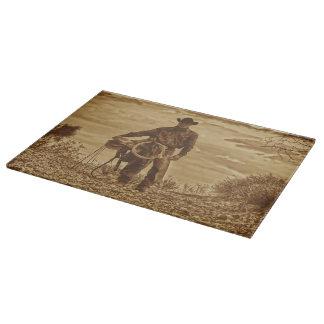 Sepia Cowboy Cutting Board Western Cowboy