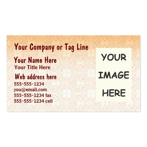Sepia Damask Business Card Template