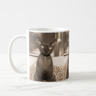 Sepia Devon Rex Cat mug. Coffee Mug