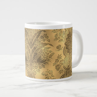 Sepia Faded Vintage Floral Large Coffee Mug