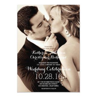 Sépia/faire-part de mariage de mariage de baiser carton d'invitation  12,7 cm x 17,78 cm