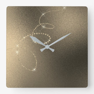 Sepia Faux Gold Crystal Frozen Glass Infinity Square Wall Clock