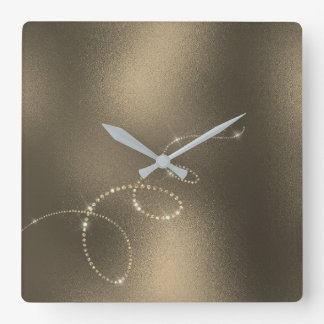 Sepia Faux Gold Crystals Frozen Glass Infinity Square Wall Clock