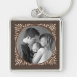 Sepia Frame Silver-Colored Square Keychain
