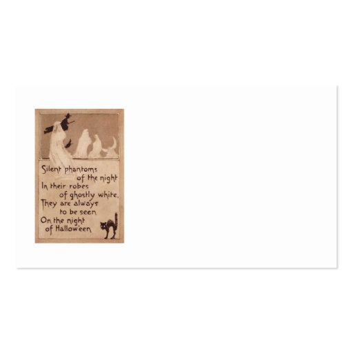Sepia Ghost Witch Black Cat Crescent Moon Business Card Templates