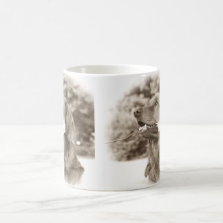 Sepia golden retriever with rose coffee mug