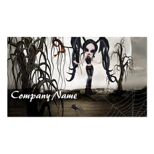Sepia Goth Girl Business Card Templates