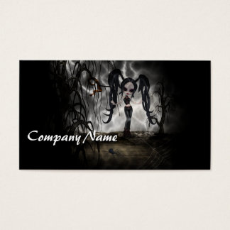 Sepia Goth Girl Vignette Business Card