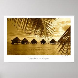 Sepia Huts ~ Rangiroa ~ Travel Poster