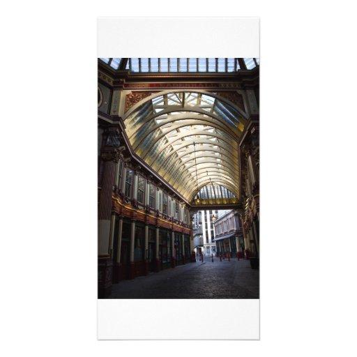 Sepia image Of Leadenhall Market London Customised Photo Card