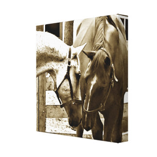 Sepia Image of Two Horses Up-Close Canvas Print