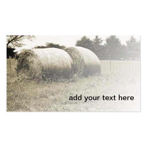 sepia image of two large round hay bales business cards