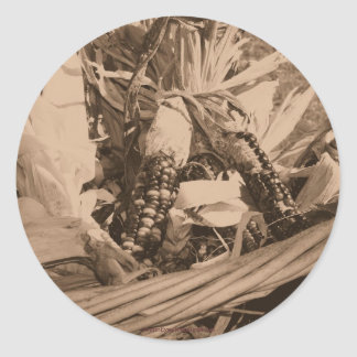 Sepia Indian Corn Flower Photo Sticker Label
