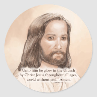Sepia Jesus Art Bible Quote - Ephesians 3:21 Classic Round Sticker
