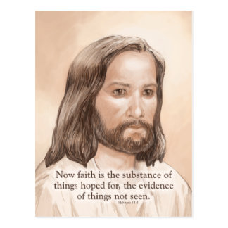 Sepia Jesus Art Bible Quote - Hebrews 11:1 Postcard