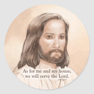 Sepia Jesus Art Bible Quote - Joshua 24:15 Classic Round Sticker