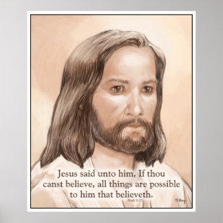 Sepia Jesus Art Bible Quote - Mark 9:23 Poster