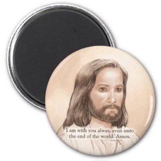 Sepia Jesus Art Bible Quote - Matthew 28:20 2 Inch Round Magnet