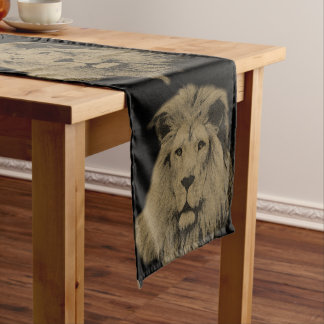Sepia Lion Short Table Runner