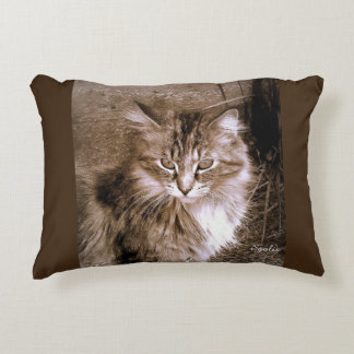 Sepia Maine Coon Cat Throw Pillow
